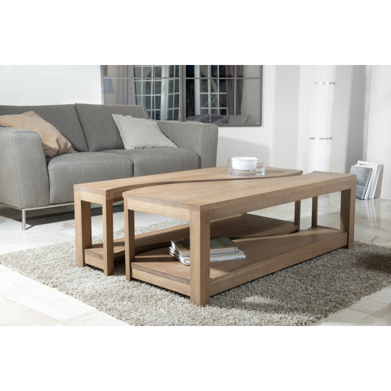 Table Basse Rectangulaire Deux Parties 120x70 Bois Massif Jule So