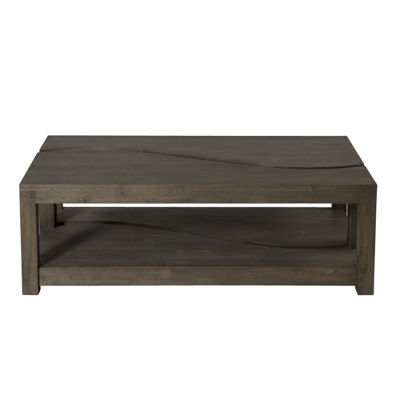 Table basse rectangulaire deux parties 120x70 bois massif for Table basse rectangulaire bois