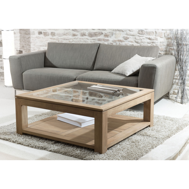 table basse carr e 100x100cm plateau vitr jule. Black Bedroom Furniture Sets. Home Design Ideas