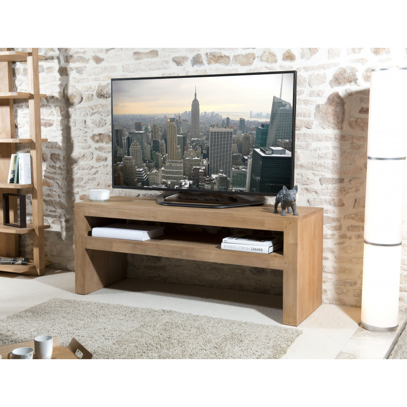 meuble tv 1 tag re bois h v a 150x50cm jule. Black Bedroom Furniture Sets. Home Design Ideas