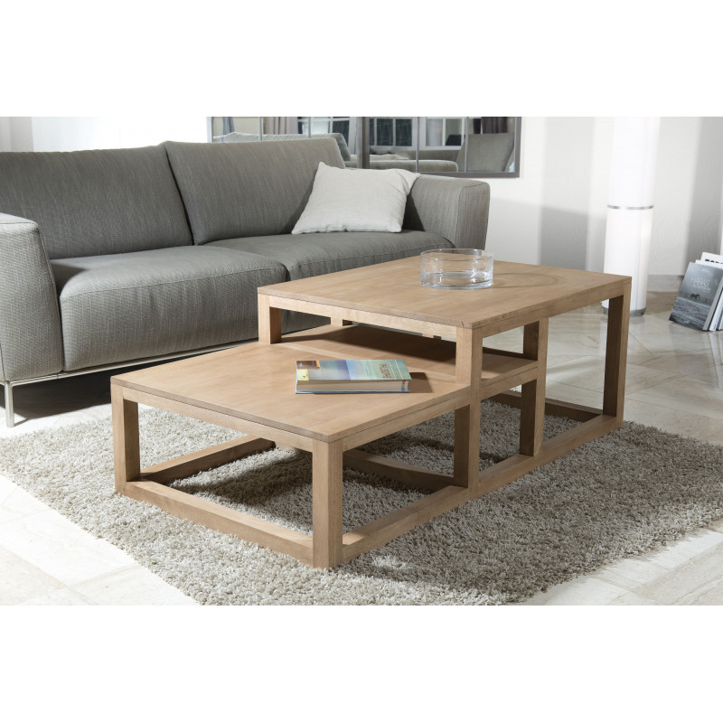 table basse double hauteur bois massif 130x70 jule so inside. Black Bedroom Furniture Sets. Home Design Ideas