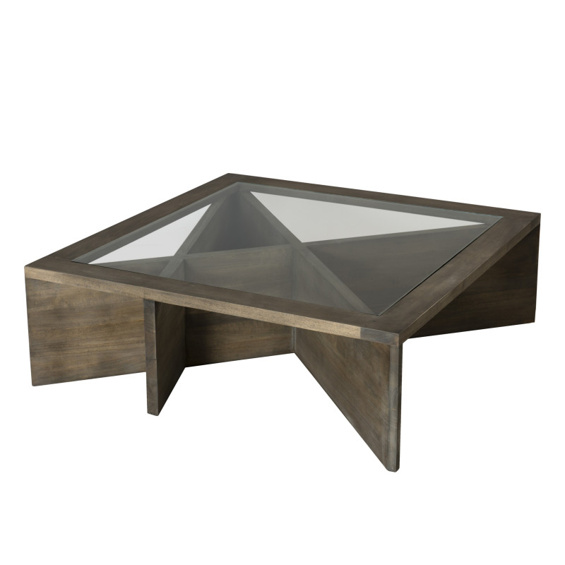 Table basse plateau vitr bois massif h v a 100x100cm jule for Table basse design 100 x 100