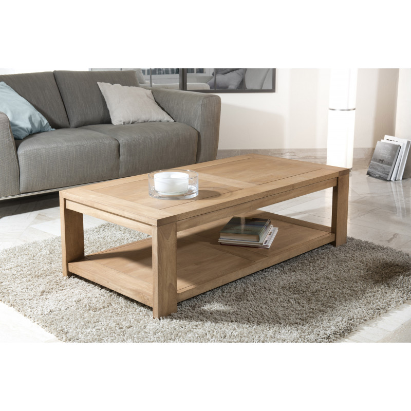Table basse bois massif rectangulaire 120x60 jule so inside for Table basse scandinave bois massif