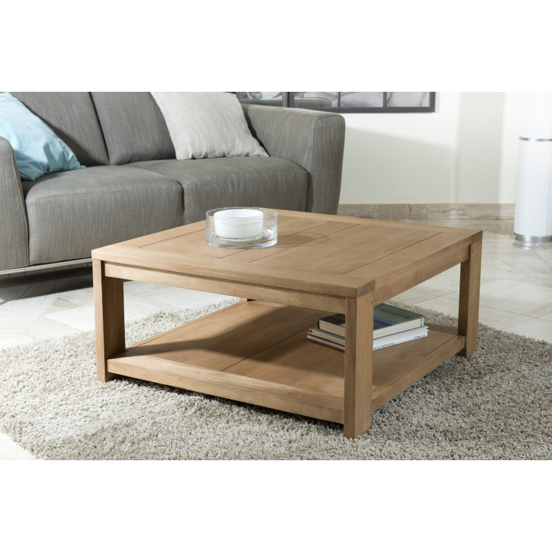 Table basse carr e 80x80 bois massif jule so inside - Table basse carre bois ...