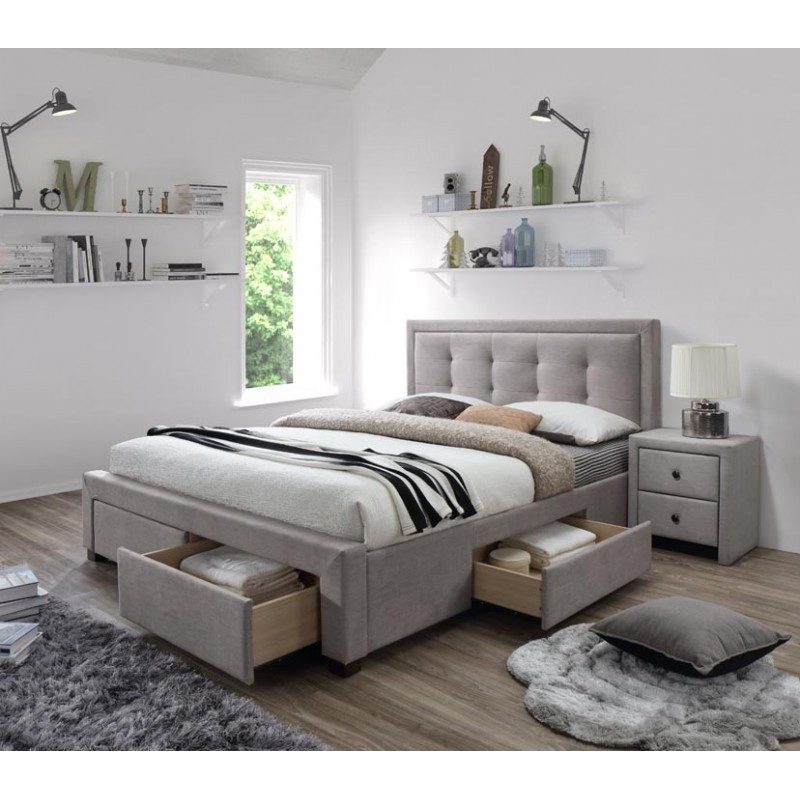 lit 160x200 beige avec sommier et tiroirs de rangement. Black Bedroom Furniture Sets. Home Design Ideas