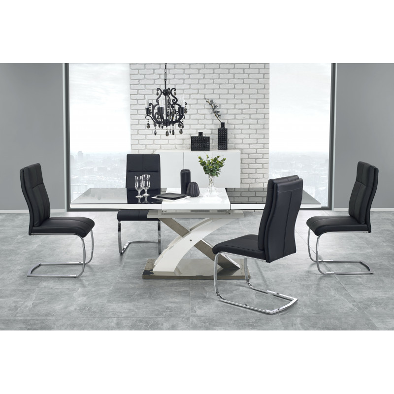 Table a manger design noir et blanc avec rallonge cesar for Table de cuisine modulable