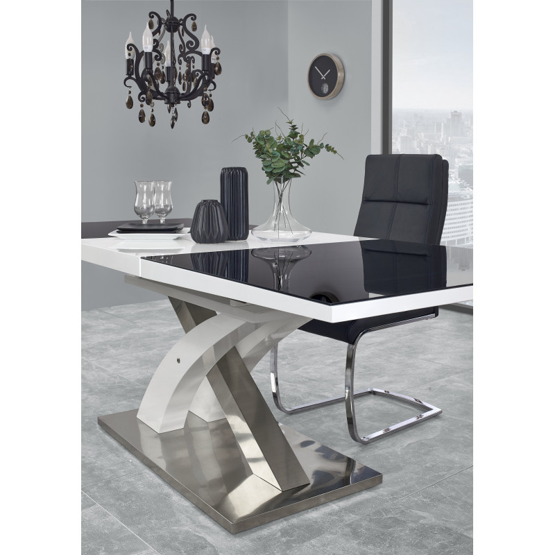 Table a manger design noir et blanc avec rallonge cesar for Table salon salle a manger