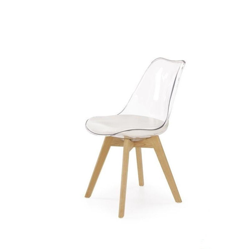 Chaise scandinave coque transparente louisa so inside for Chaise transparente pied en bois