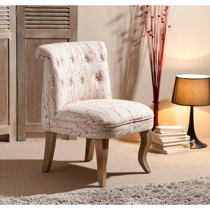 fauteuil tissu beige et fleuri bonni so inside. Black Bedroom Furniture Sets. Home Design Ideas
