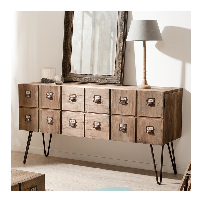 buffet industriel 2 portes 2 tiroirs m tal et bois orianne. Black Bedroom Furniture Sets. Home Design Ideas