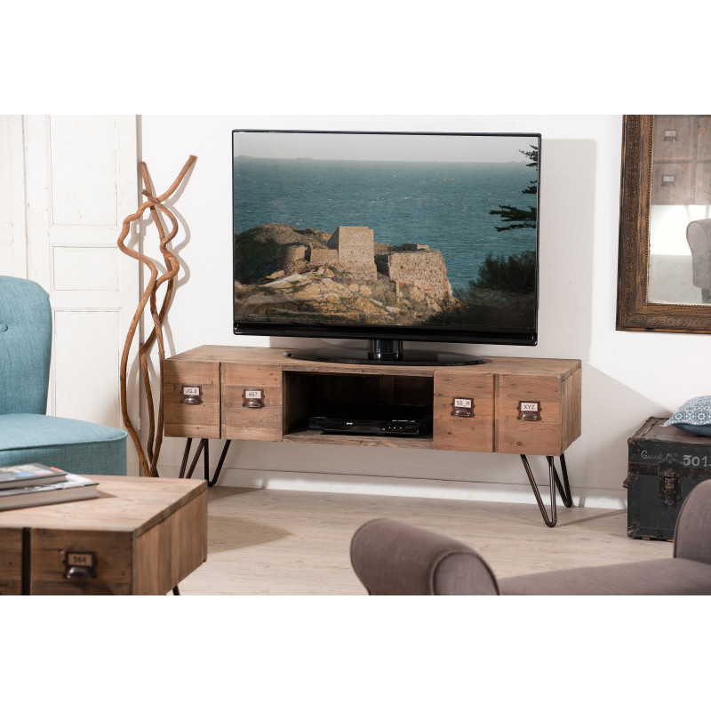 meuble tv industriel m tal et bois orianne so inside. Black Bedroom Furniture Sets. Home Design Ideas