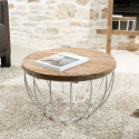 Table basse ronde blanche 60cm Tinesixe