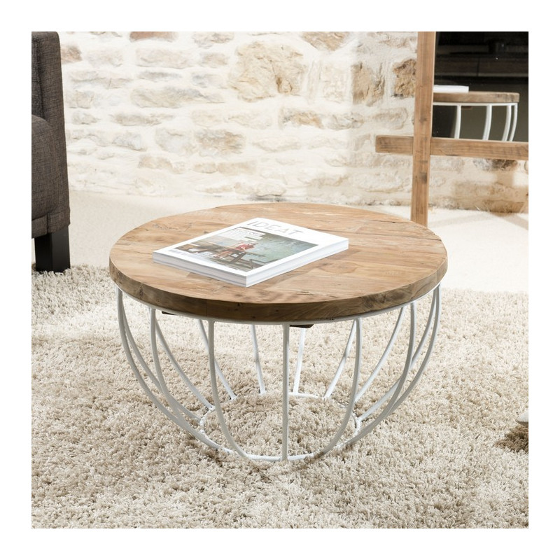 Table basse ronde blanche 60x60cm tinesixe for Table basse salon ronde ou ovale