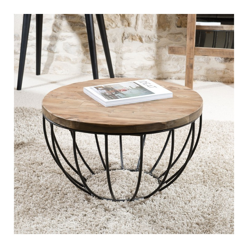 Table basse ronde noire 60x60 tinesixe for Table ronde bois metal