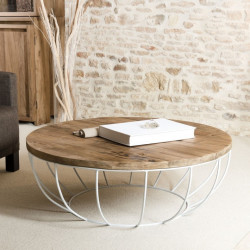 Table basse ronde bois et pied blanc 100cm Tinesixe