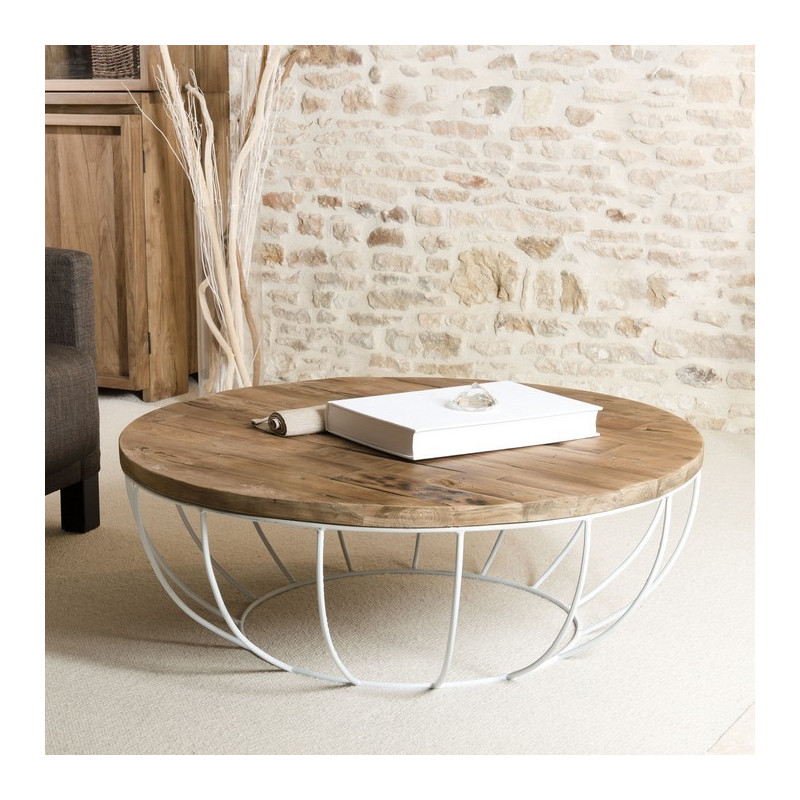 Table basse ronde bois pied blanc 100cm tinesixe so inside - Table basse bois et blanc ...