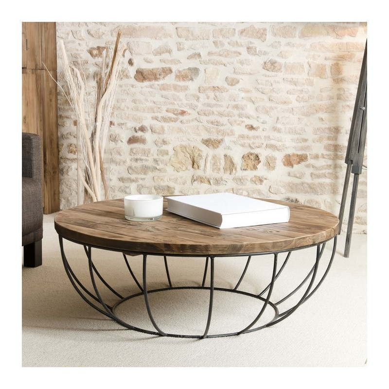 Table basse ronde bois et m tal noir 100cm tinesixe so for Table filaire
