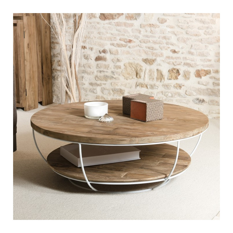 Table basse ronde bois et m tal blanc 100cm tinesixe for Table ronde bois et metal