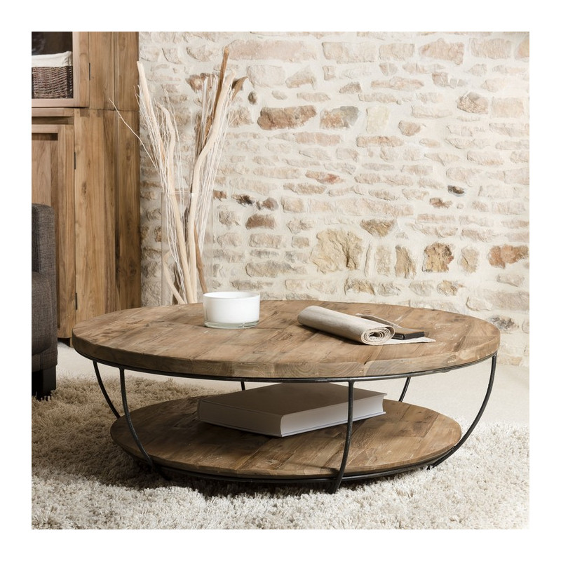 Table basse ronde noire double plateau 100cm tinesixe so for Table ronde bois metal