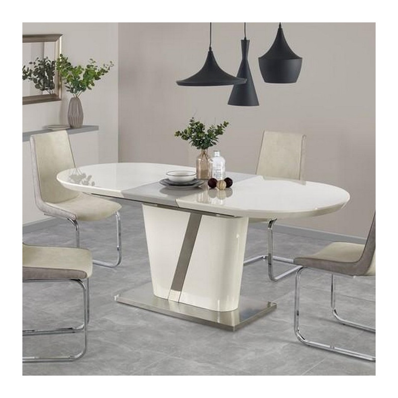 Table de salle manger 160 200 x 90cm ovale laqu e for Table grise salle a manger