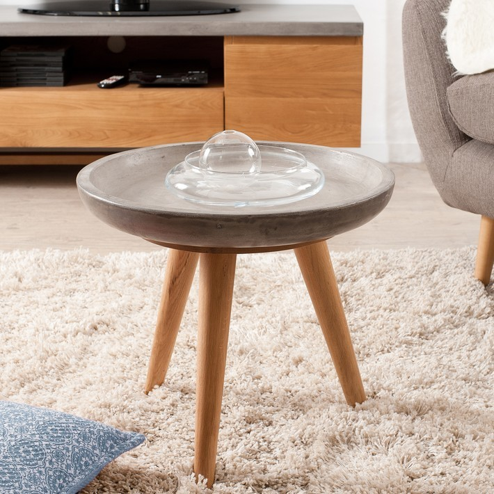 table dappoint ronde 50cm chne et bton minio - Table D Appoint Ronde