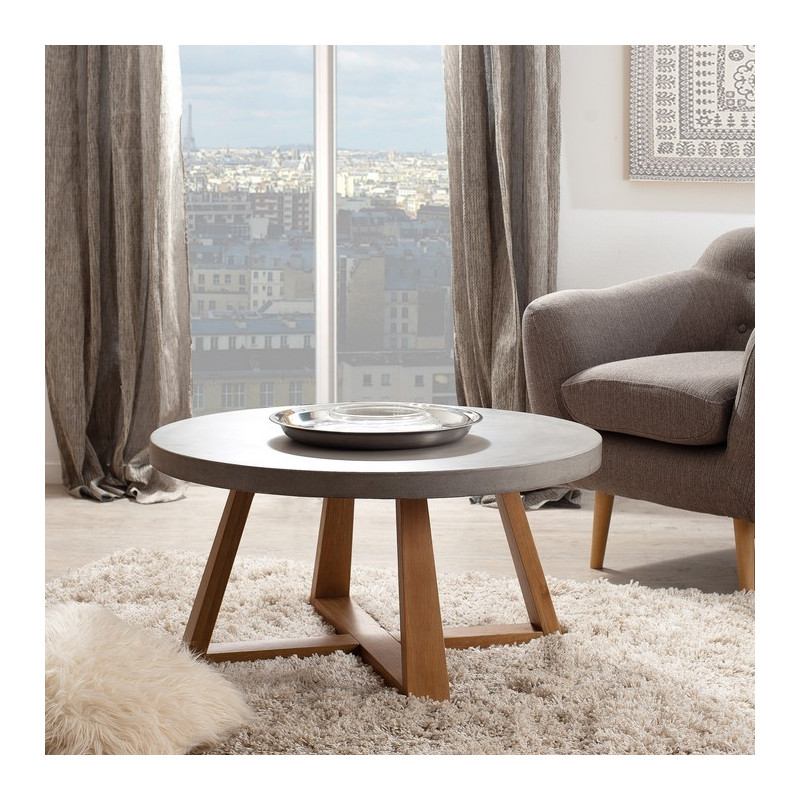 table basse ronde b ton et bois massif minio so inside. Black Bedroom Furniture Sets. Home Design Ideas
