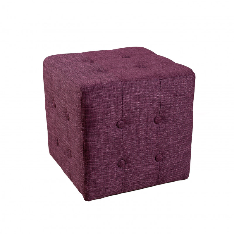 lot de 2 poufs carr s tissu couleur prune cubia so inside. Black Bedroom Furniture Sets. Home Design Ideas
