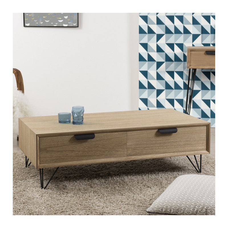 Table basse 4 tiroirs MDF 110x60cm MURGO