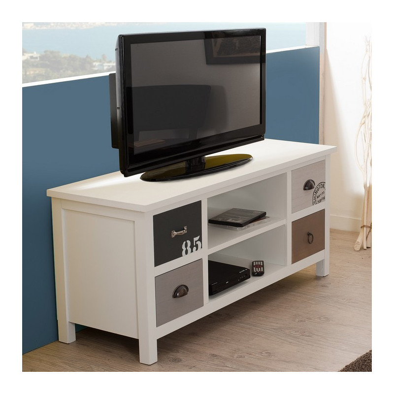 meuble tv bord de mer blanc gris marron. Black Bedroom Furniture Sets. Home Design Ideas