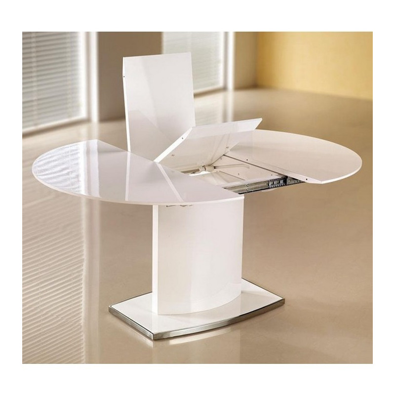 Table manger ovale extensible blanc laqu rico for Table a manger blanche avec rallonge