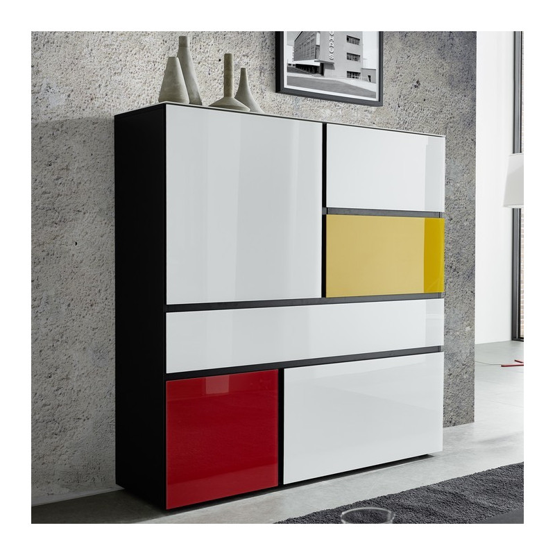 buffet mondrian jaune et rouge avec de nombreux rangements. Black Bedroom Furniture Sets. Home Design Ideas