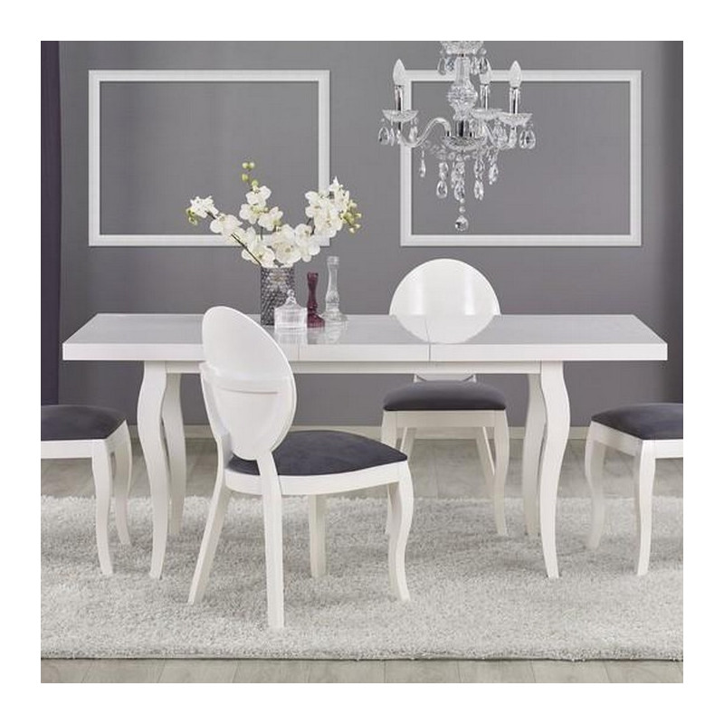 Table a manger blanche baroque 140x80 avec rallonge for Table rallonge