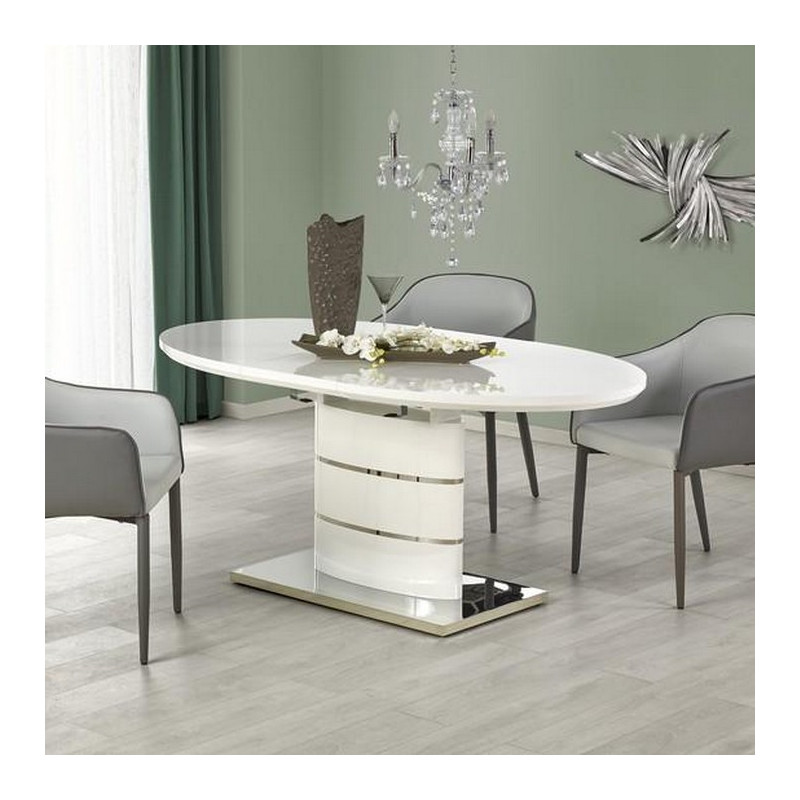 Table a manger ovale 140 180cm blanche avec rallonge ipson for Table laquee blanche
