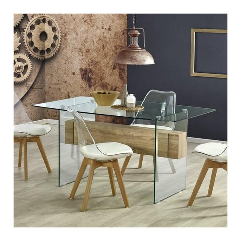 table a manger verre et bois 150 x 90cm bernis so inside. Black Bedroom Furniture Sets. Home Design Ideas