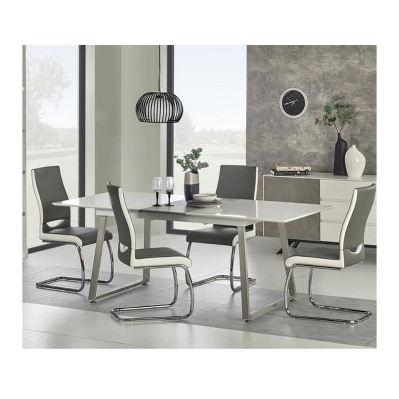 table a manger blanc gris 160x90 rectangulaire avec rallonge mally. Black Bedroom Furniture Sets. Home Design Ideas