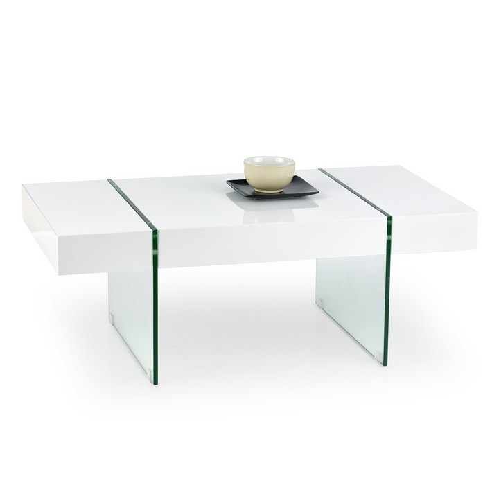 Table Basse Blanc Brillant Et Verre 110x60cm Thysen