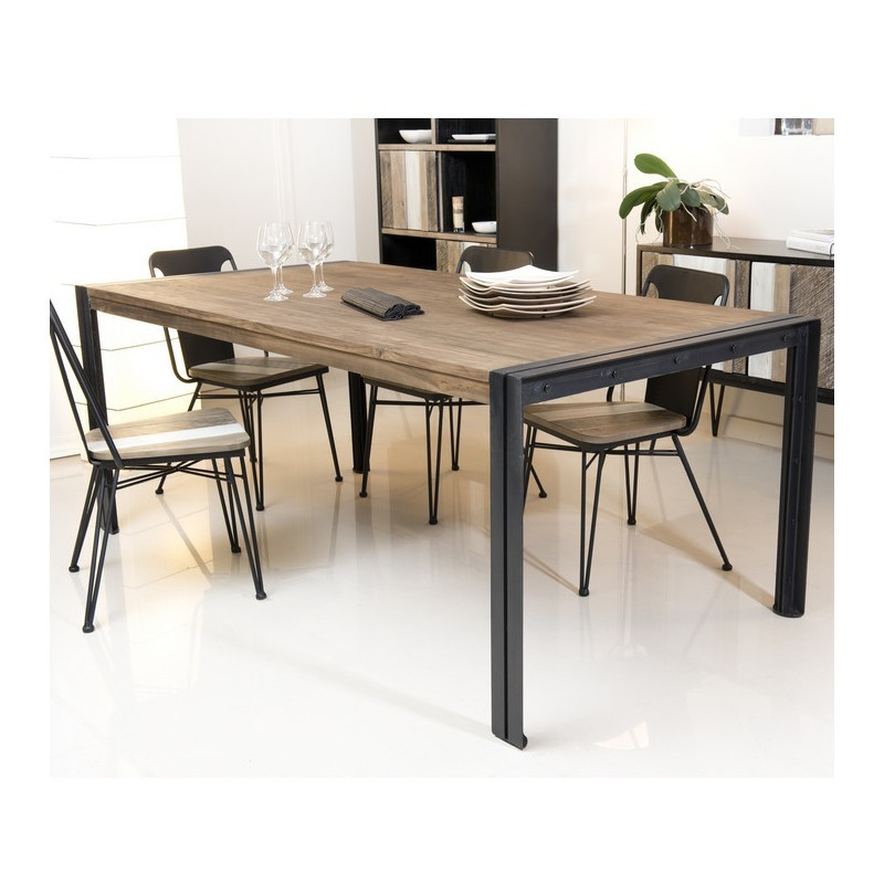 table manger bois teck pieds m tal 200x100cm tinesixe so inside. Black Bedroom Furniture Sets. Home Design Ideas