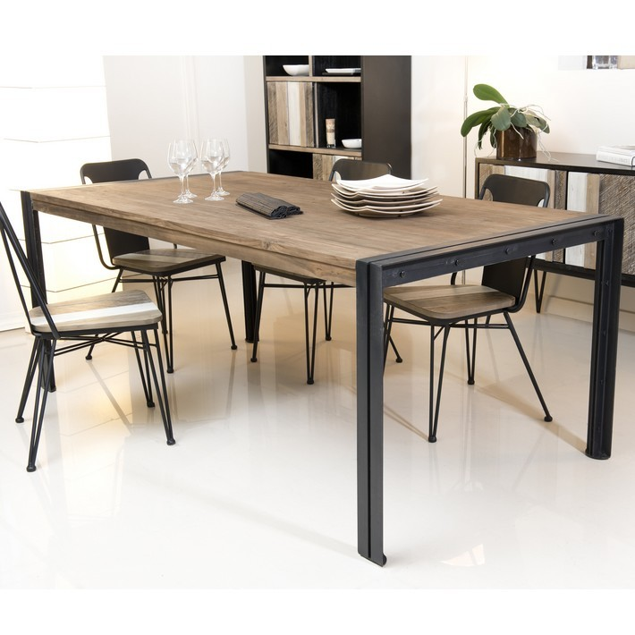 Table en teck console extensible with table en teck for Table cuisine teck