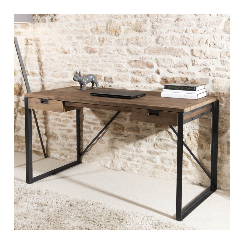 bureau 2 tiroirs bois teck pieds m tal 140x70cm tinesixe so inside. Black Bedroom Furniture Sets. Home Design Ideas
