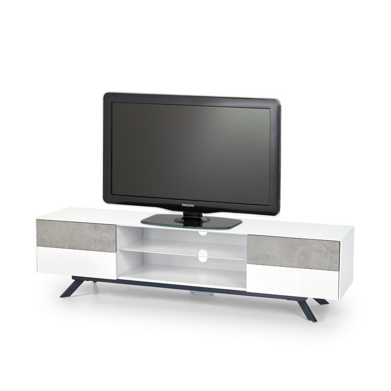 meuble tv b ton et blanc laque 4 tiroirs 180cm astani. Black Bedroom Furniture Sets. Home Design Ideas