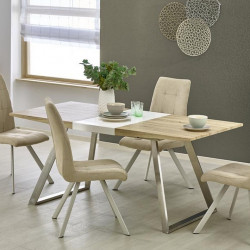 Table a manger scandinave pieds inox 130-170 x80cm plateau ...