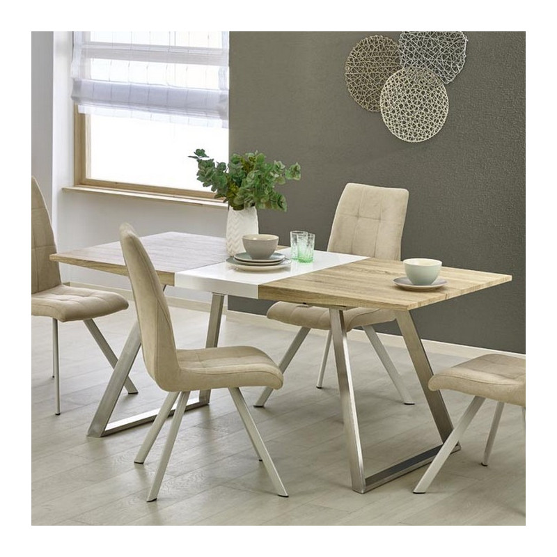 table a manger scandinave pieds inox 130 170 x80cm plateau bois milena. Black Bedroom Furniture Sets. Home Design Ideas