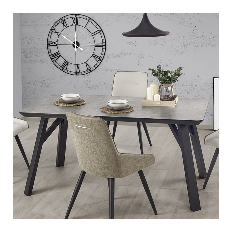 Table manger gris beton et noir 160x90cm ninon so inside for Table a manger beton