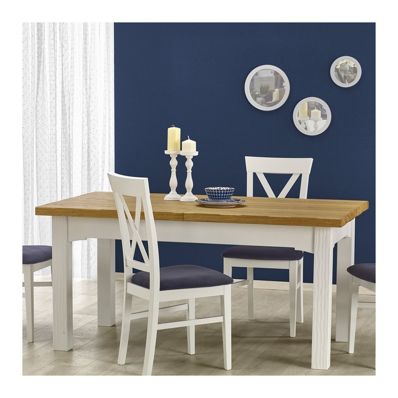 Table a manger blanche et bois extensible 160 250cm donna for Table de campagne en bois