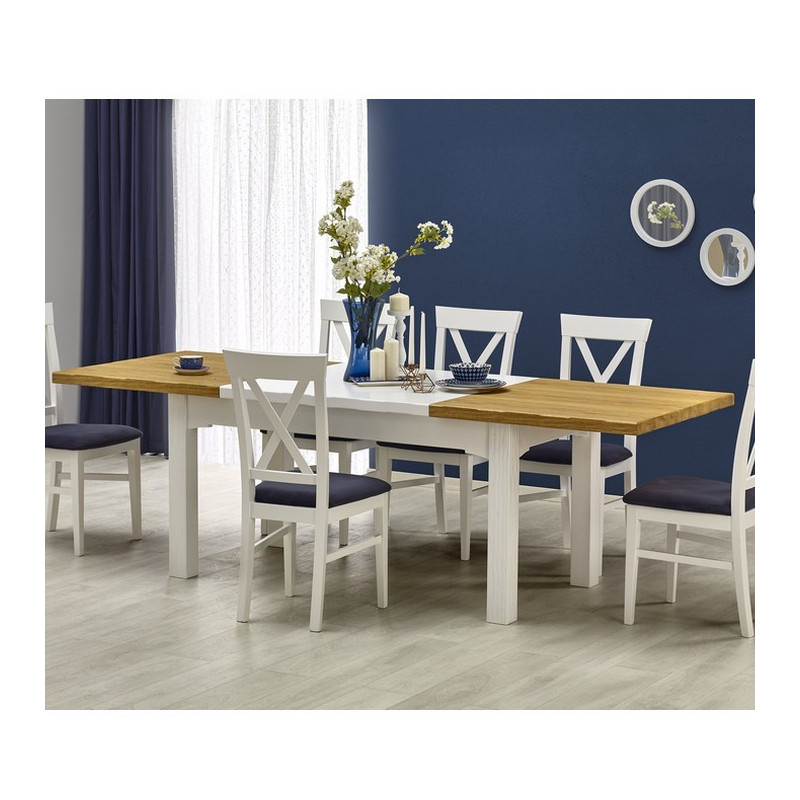 Table a manger blanche et bois extensible 160 250cm donna for Table blanche extensible