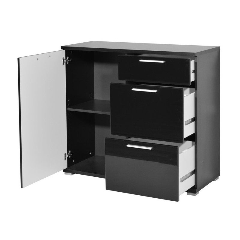 buffet noir laqu 3 tiroirs une porte pas cher arturo. Black Bedroom Furniture Sets. Home Design Ideas
