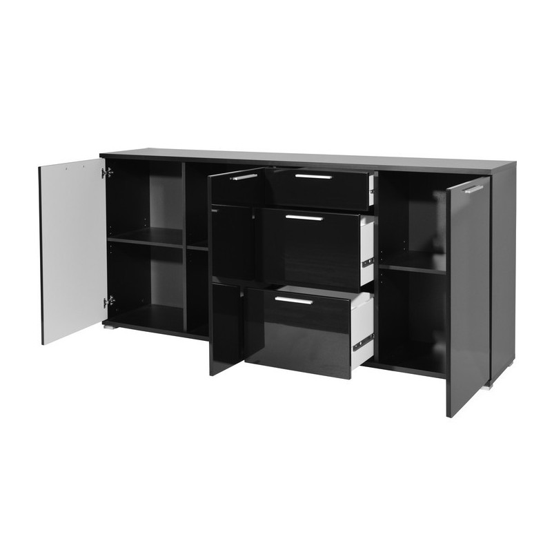 Buffet noir brillant 3 portes 3 tiroirs arturo so inside for Buffet noir