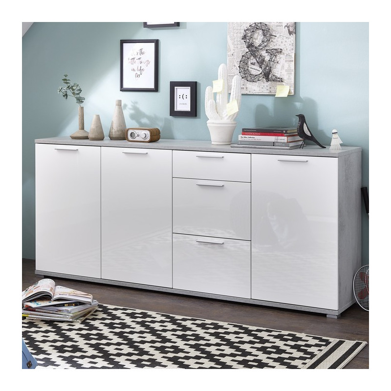 buffet 3 portes 3 tiroirs gris b ton et blanc laqu porto so inside. Black Bedroom Furniture Sets. Home Design Ideas