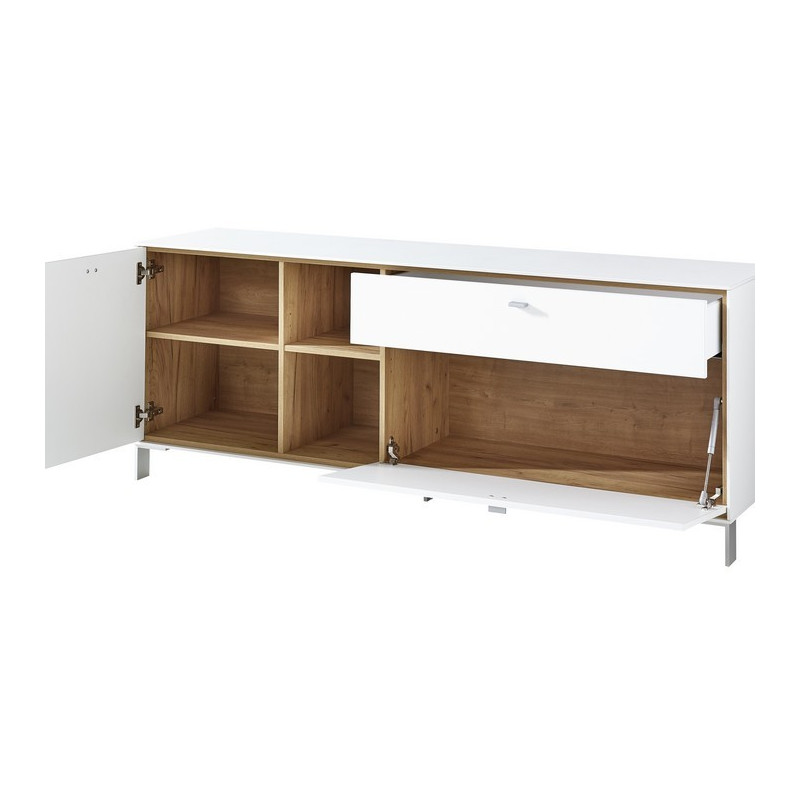 Buffet bas design blanc et bois jude so inside for Buffet bas design