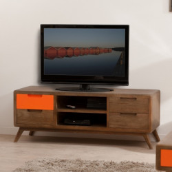 Meuble TV 4 tiroirs 2 niches bois et orange Mora